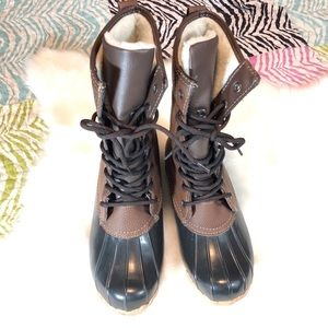 Totes Black Brown Lace Up Combat Leather Boots
